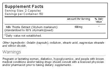 Vitacost Milk Thistle Extract innhold