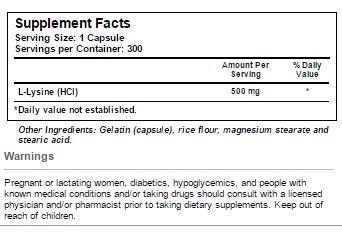 L-Lysine Vitacost innhold