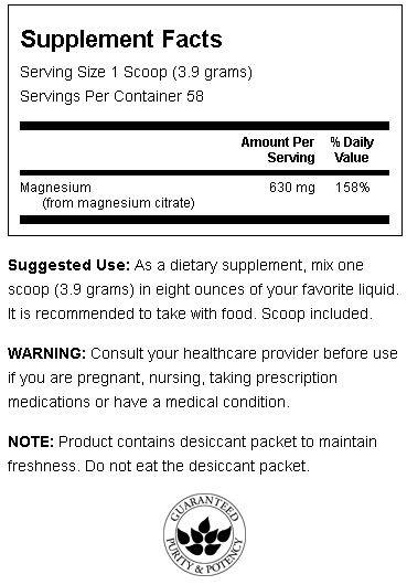 Magnesium Citrate Powder Swanson innhold