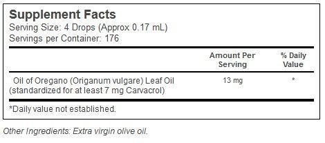 Oil of Oregano Nature´s Answer innhold