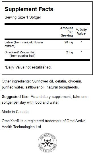 Lutein & Zeaxanthin Synergistic Eye Formula innhold