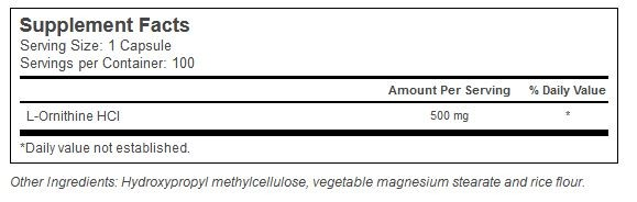 L-Ornithine 100 kpsl. Vitacost innhold