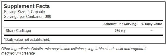 Shark Cartilage (Haibrusk) Vitacost innhold